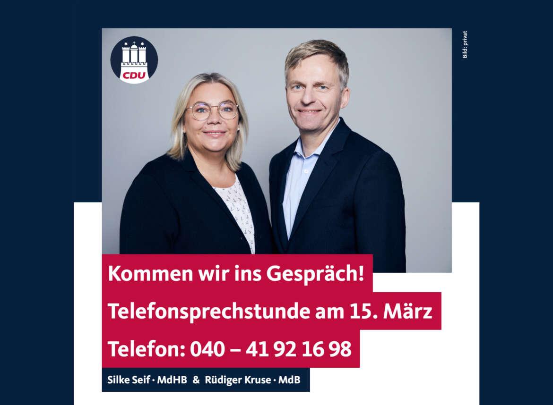 Bürgersprechstunde mit Silke Seif und Rüdiger Kruse am 15. März 2021